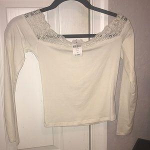 NWTS LF Emma & Sam Cream Lace Crop Top Size XS